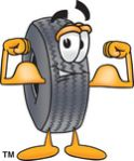 Clipart Picture of a Rubber Tire Mascot Cartoon Character